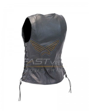 Women Leather Vest with Dual Side Pockets
